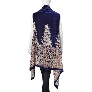 Jackets & Coats - Kimono Floral Pattern Polyester Sheer Navy